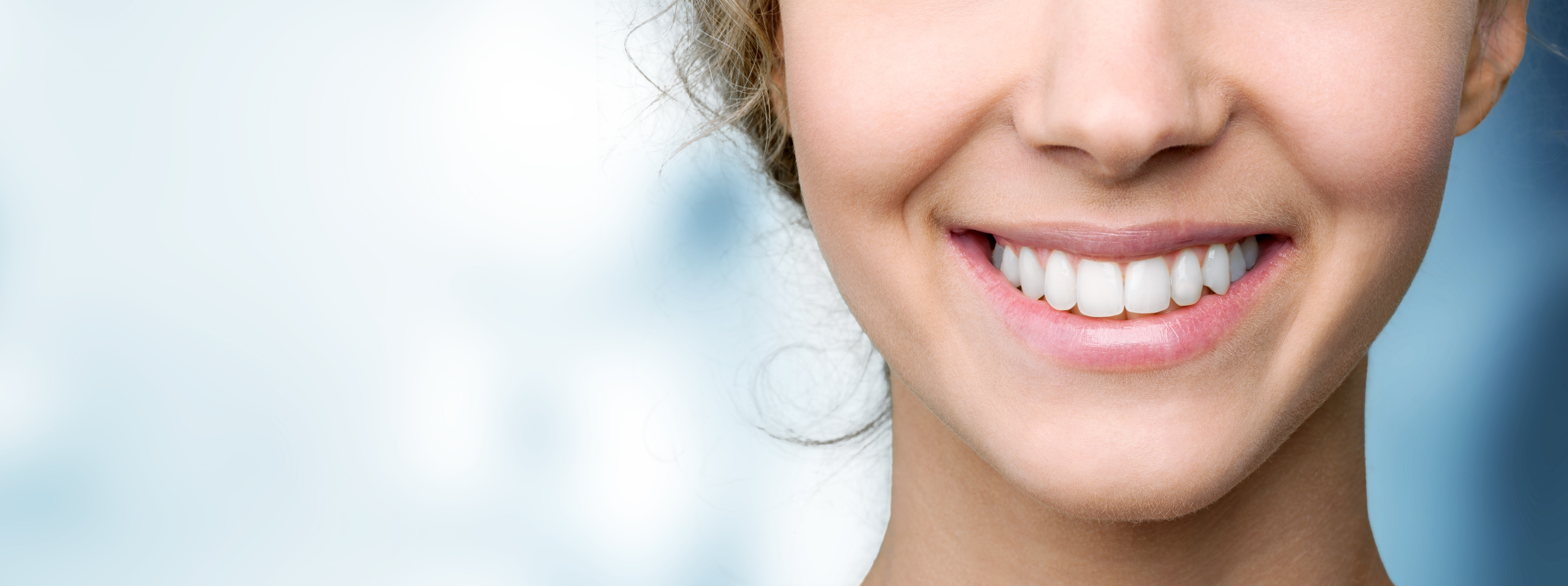 Beautiful wide smile with great healthy white teeth.